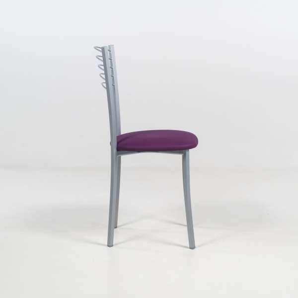 Chaise de cuisine contemporaine assise vinyle mauve structure en métal alu - Yolanda - 4