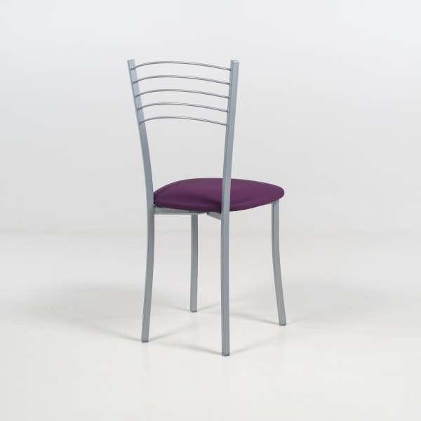 Chaise de cuisine contemporaine assise vinyle violet structure en métal alu - Yolanda - 5