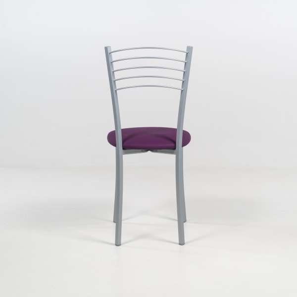 Chaise de cuisine vinyle violet structure en métal alu - Yolanda - 6