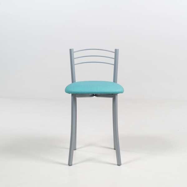 Tabouret bas de cuisine avec assise turquoise et structure métal alu - Yolanda - 3