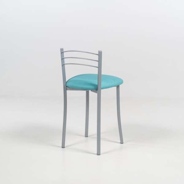 Tabouret bas de cuisine avec assise rembourrée et structure métal alu - Yolanda - 5