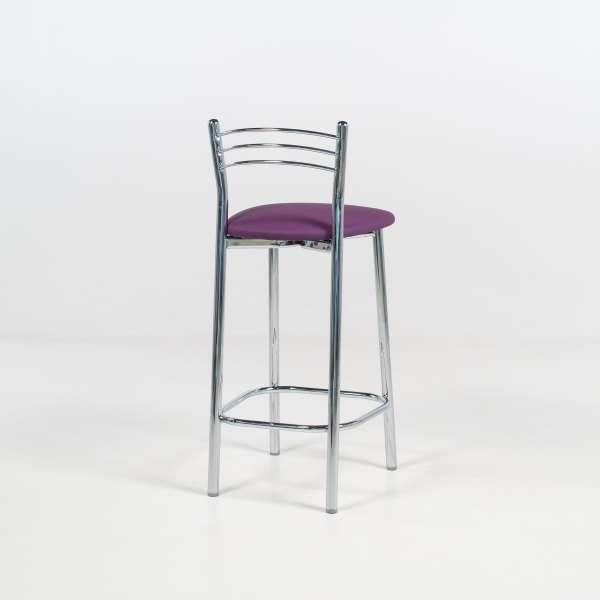 Tabouret snack de cuisine en métal chromé assise violette - Marta - 4