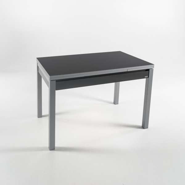 Petite table de cuisine extensible en formica gris foncé avec tiroir pieds alu - Iris - 8