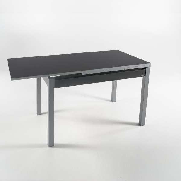 Petite table de cuisine gris foncé extensible en formica avec tiroir pieds alu - Iris - 9