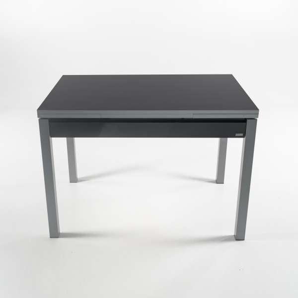 Table de cuisine extensible en formica gris foncé avec tiroir pieds alu - Iris - 11