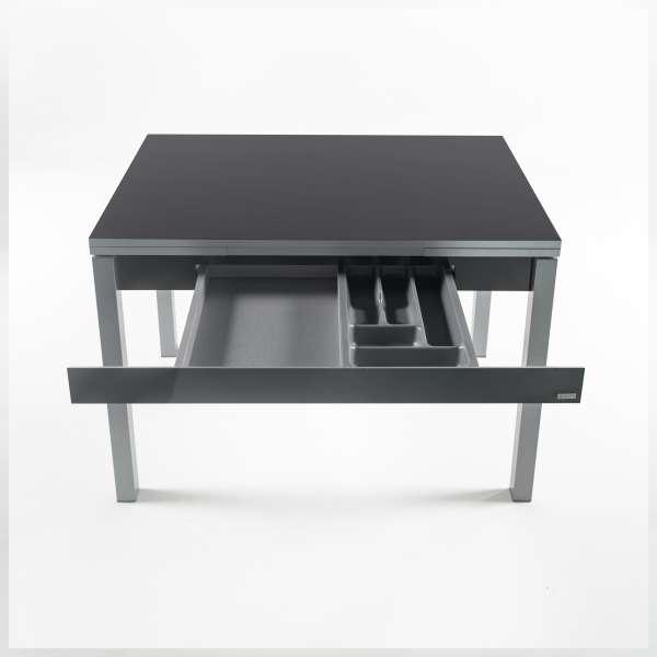 Table de cuisine gris foncé avec allonges en formica avec tiroir pieds alu - Iris - 12