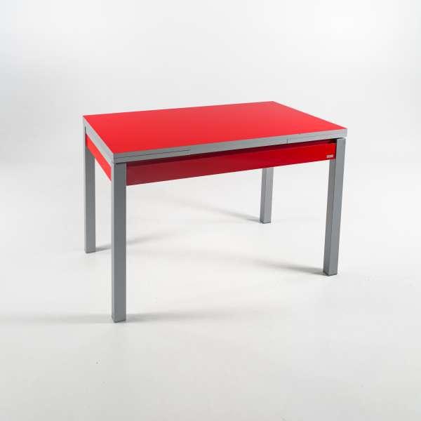 Petite table de cuisine extensible en formica rouge avec tiroir pieds alu - Iris - 2