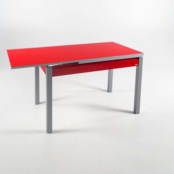 Petite table de cuisine rouge extensible en formica avec tiroir pieds alu - Iris - 3