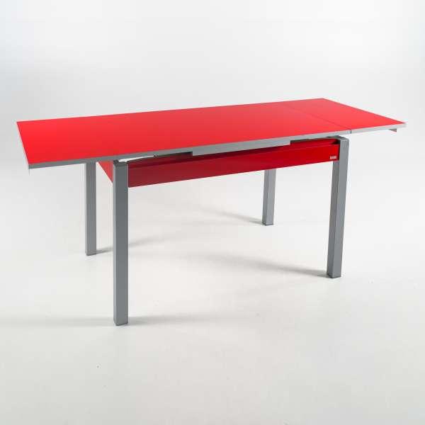 Table de cuisine avec allonges en formica rouge avec tiroir pieds alu - Iris - 4