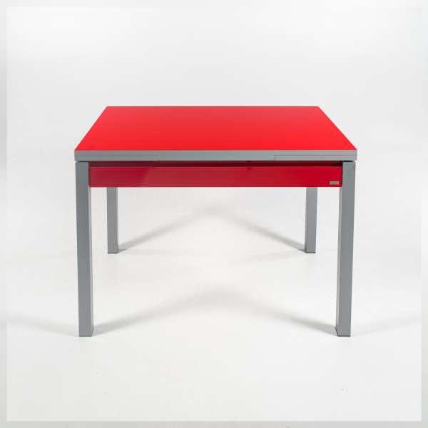 Table de cuisine extensible en formica rouge avec tiroir pieds alu - Iris - 5