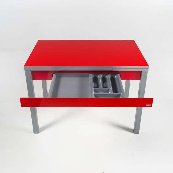 Petite table de cuisine extensible rouge - Iris - 6