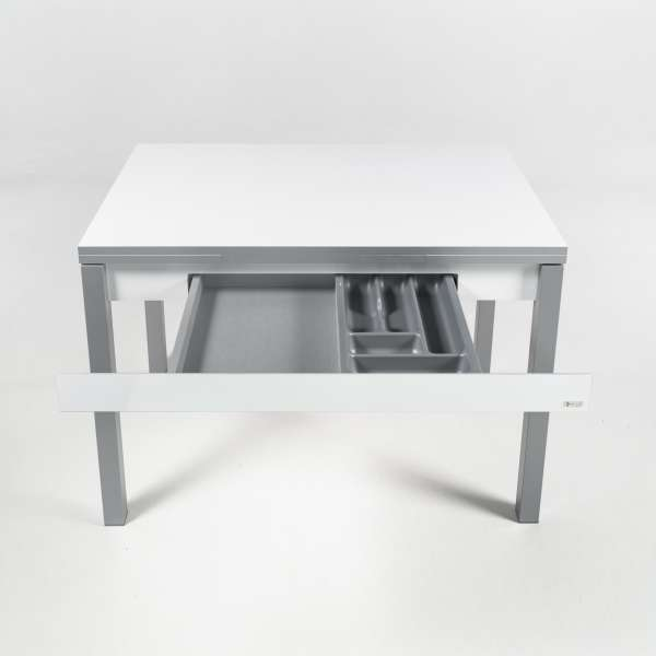 Petite table de cuisine blanche extensible en formica avec tiroir pieds alu - Iris - 18