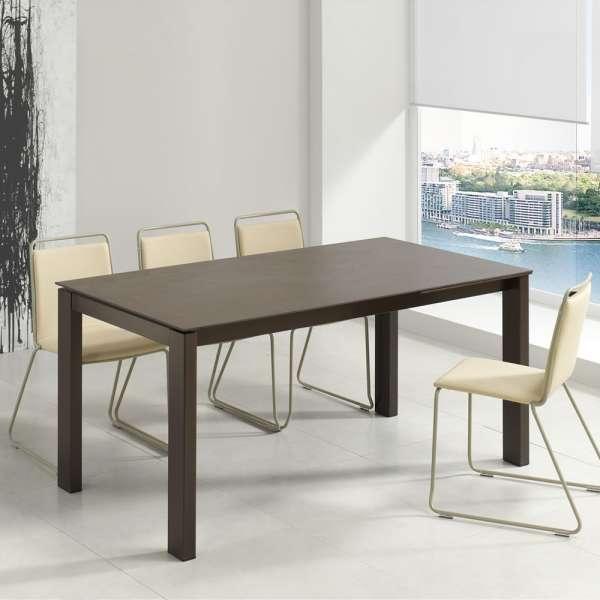 Table rectangulaire avec allonges avec plateau en dekton et pieds en métal - Evento - 2