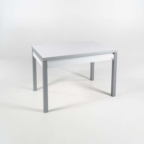 Petite table de cuisine extensible en formica blanc avec tiroir pieds alu - Iris - 14