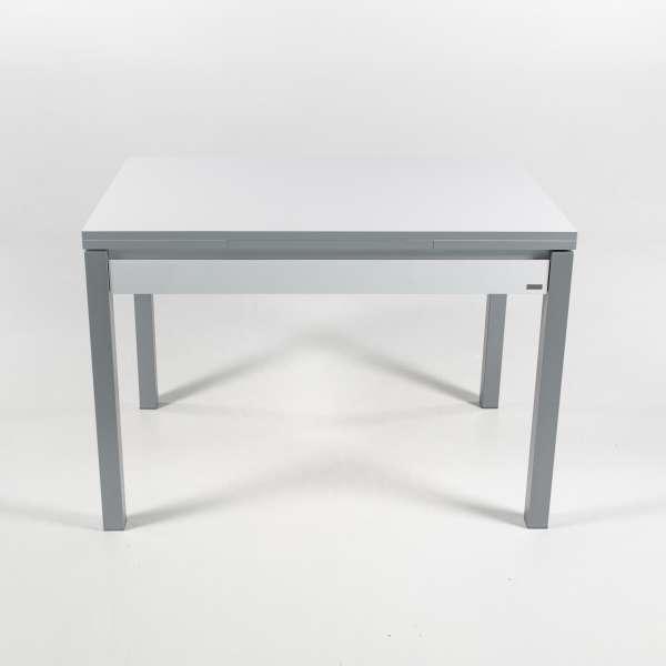 Table de cuisine blanche extensible en formica avec tiroir pieds alu - Iris - 17
