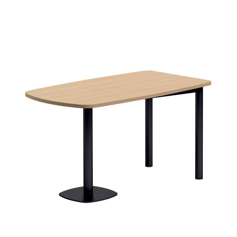 Attirant Table Demi Oblongue En Stratifié Bois Et Métal Noir   Lucca   2 · Table De  Cuisine Demi Oblongue ...