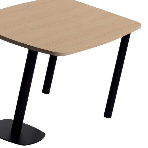 Table de cuisine demi-oblongue en stratifié bois et métal noir - Lucca - 3