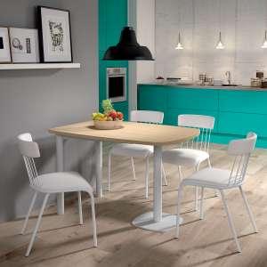 Table de cuisine demi-oblongue en stratifié et métal blanc - Lucca