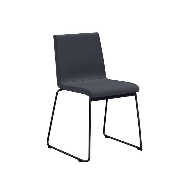 Chaise moderne pieds en métal forme traîneau et coque rembourrée anthracite - Como - 1