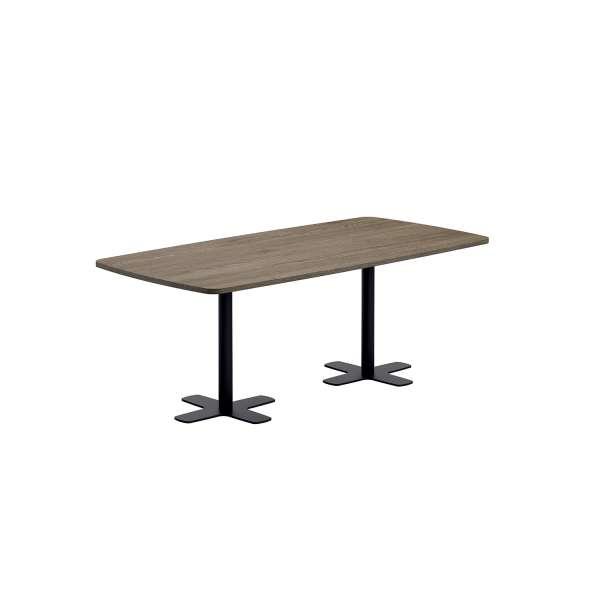 Table en stratifié rectangulaire aux coins arrondis avec deux pieds en métal noir - Spinner 2 - 2