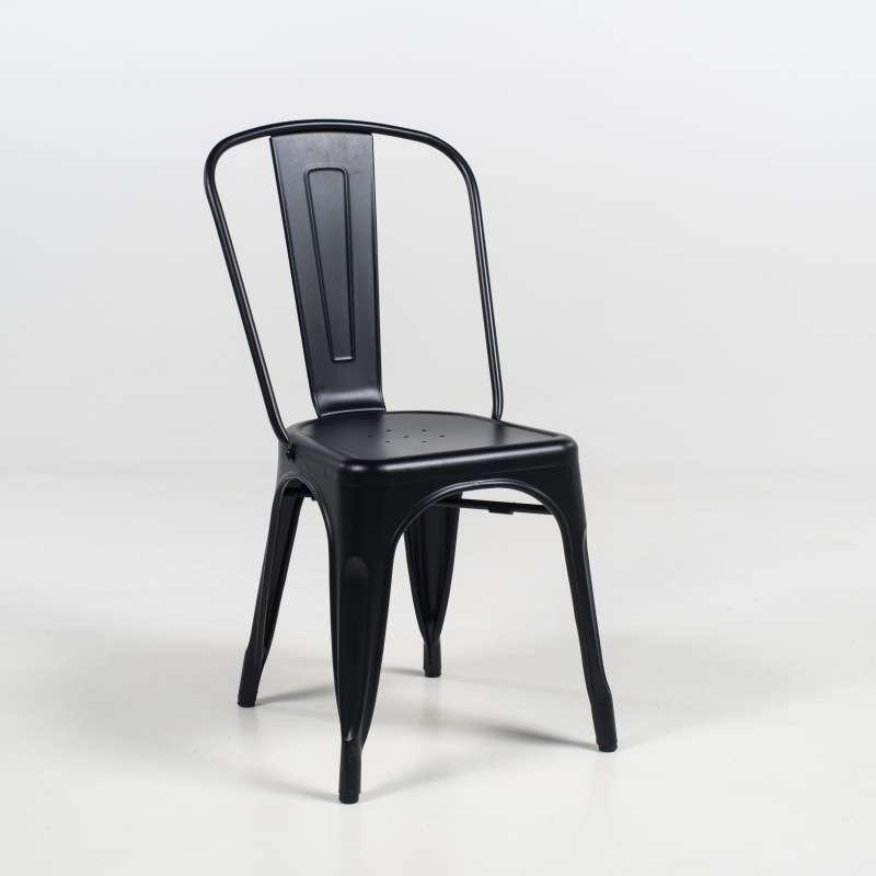 Chaise industrielle en métal empilable Maxime