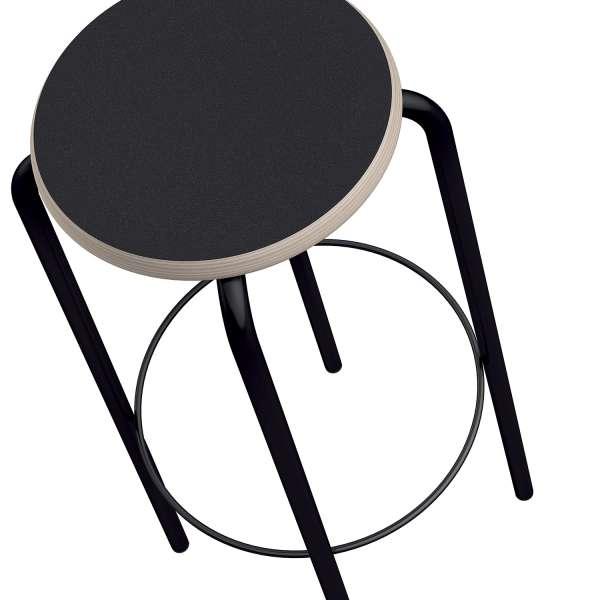 Tabouret hauteur 80 cm noir sans dossier style vintage - College - 2