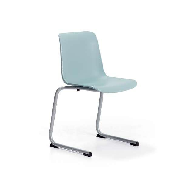 Chaise pied luge inversé empilable en métal coque polypropylène - Proza - 1