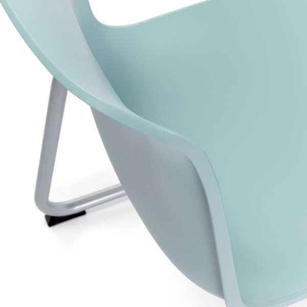 Chaise pied luge inversé empilable en métal coque polypropylène bleu - Proza - 2