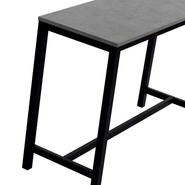 Table haute de cuisine en stratifié gris souris et métal noir 160 x 60 cm - Vienna - 4