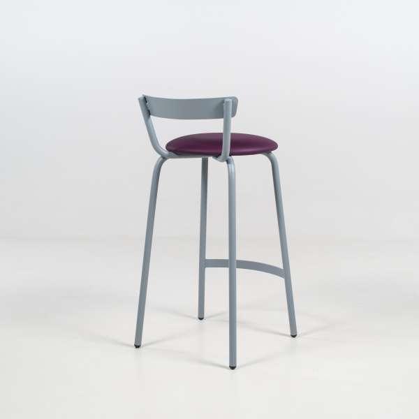 Tabouret hauteur 65 cm fabriqué en France structure en métal gris alu et assise rembourrée violette - Xoxo - 5