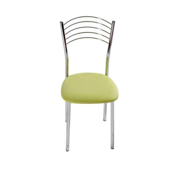 Chaise de cuisine en métal chromé avec assise verte rembourrée - Marta - 3