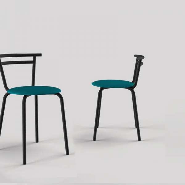 Chaise de cuisine fabrication française assise ronde  Atol Pandoria structure métal noir - Xélux - 2