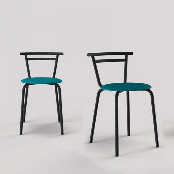 Chaise de cuisine fabriquée en France assise ronde structure métal - Xélux - 3