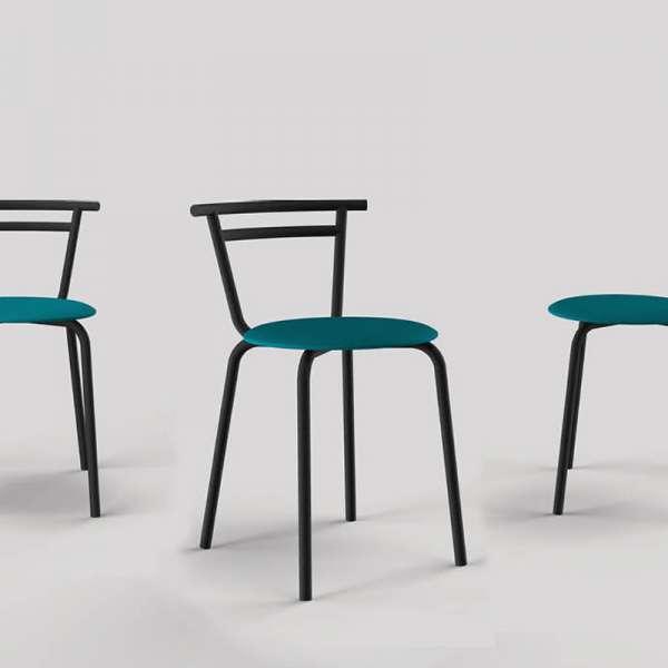 Chaise de cuisine fabriquée en France assise ronde turquoise Atol Pandoria structure métal noir - Xélux - 1