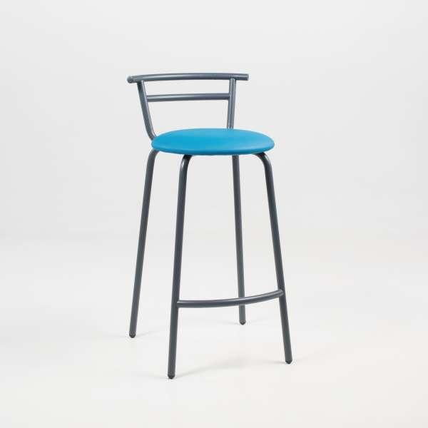 Tabouret snack fabriqué en France assise ronde rembourrée turquoise et structure métal - Xélus - 6