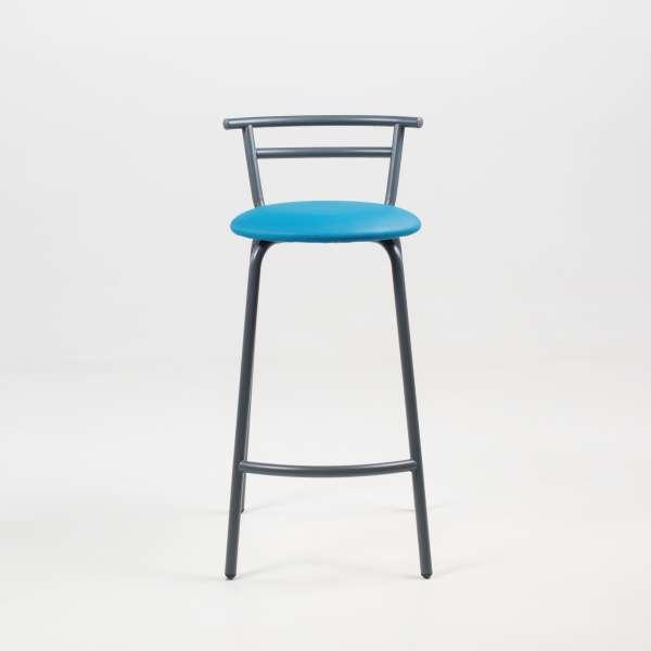 Tabouret fabriqué en France assise ronde rembourrée turquoise et structure métal - Xélus - 7