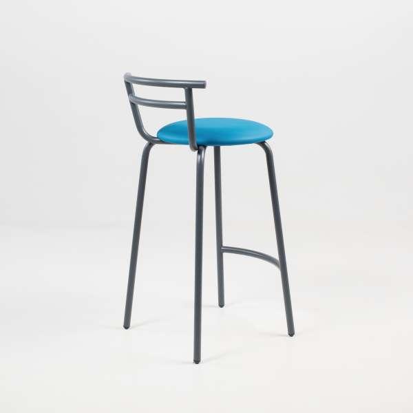 Tabouret snack fabrication française assise ronde rembourrée turquoise et structure métal - Xélus - 9