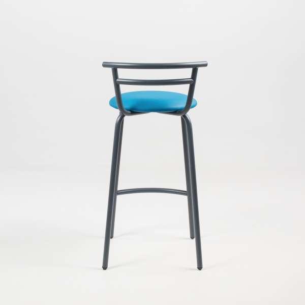 Tabouret snack fabriqué en France assise ronde rembourrée turquoise et structure métal - Xélus - 10