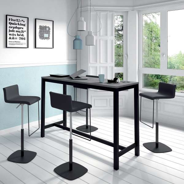 Table haute de cuisine hauteur 110 cm en stratifié gris et métal noir 160 x 60 cm - Vienna - 2