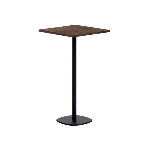 Table de cuisine carrée mange debout 60 x 60 cm en stratifié et pied central - Circa