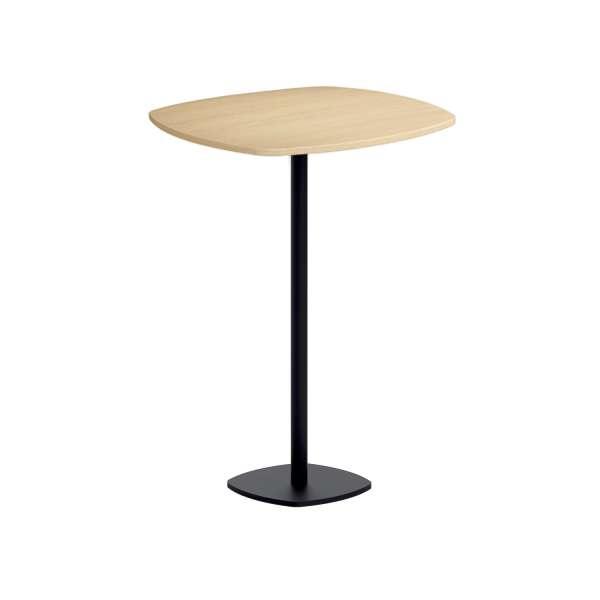 Table de bar carrée aux bords arrondis avec pied central - Circa
