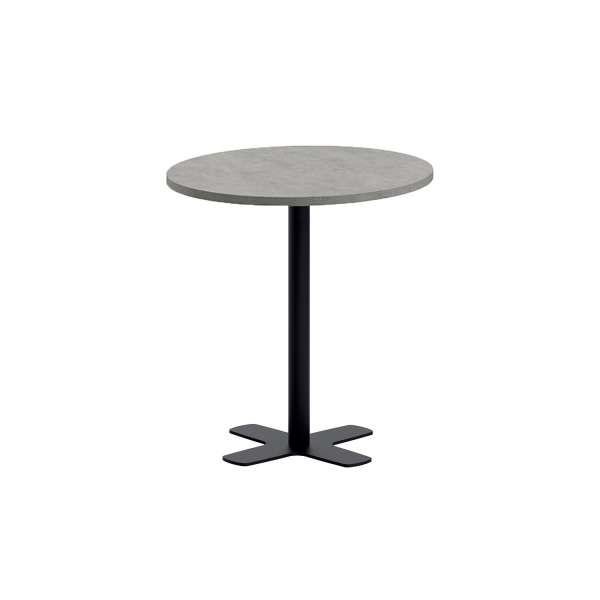 Table ronde pour cuisine en stratifié gris avec pied central - Spinner - 1