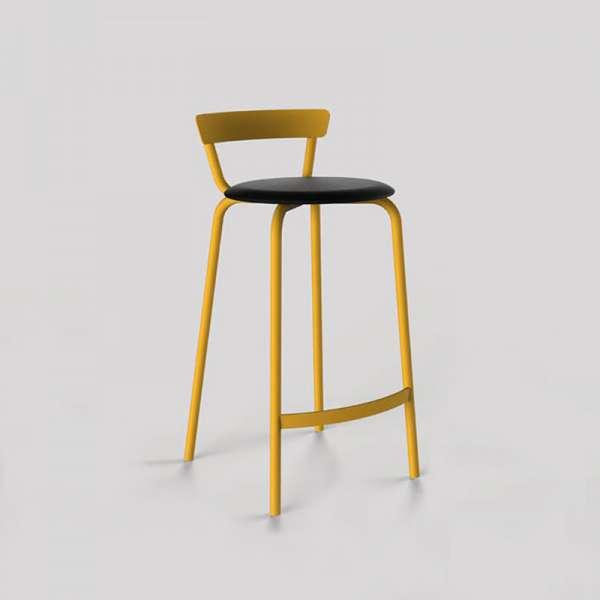 Tabouret snack fabriqué en France structure en métal jaune et assise rembourrée noire - Xoxo - 7