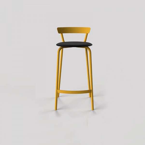 Tabouret snack fabriqué en France structure jaune et assise noire - Xoxo - 9
