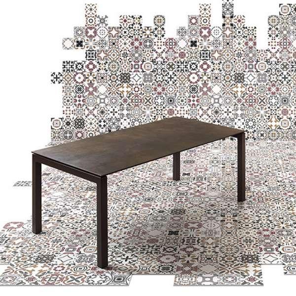 Table mobliberica pour séjour en céramique marron - Julia - 3