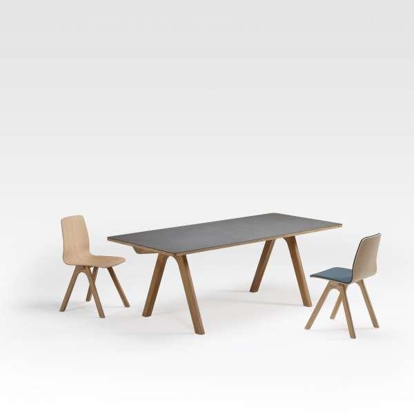 Table design en céramique anthracite et bois de fabrication française - Chevron - 5