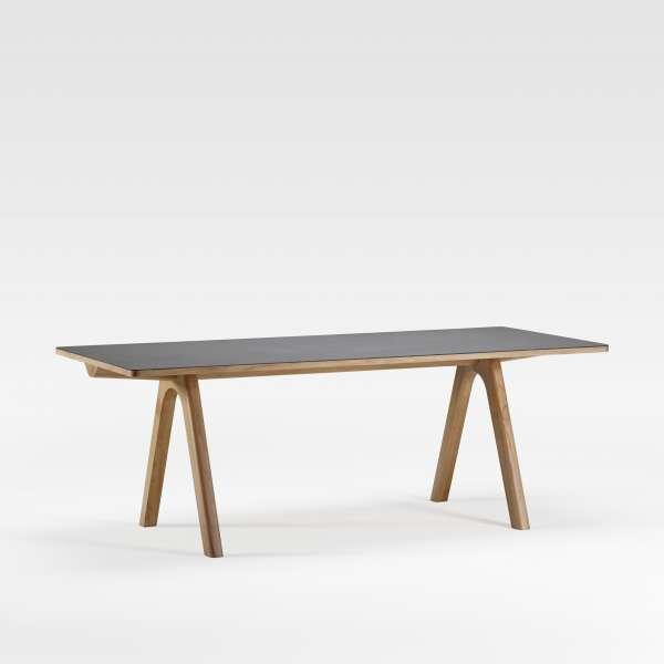 Table de designer en céramique anthracite et bois de fabrication française - Chevron - 4