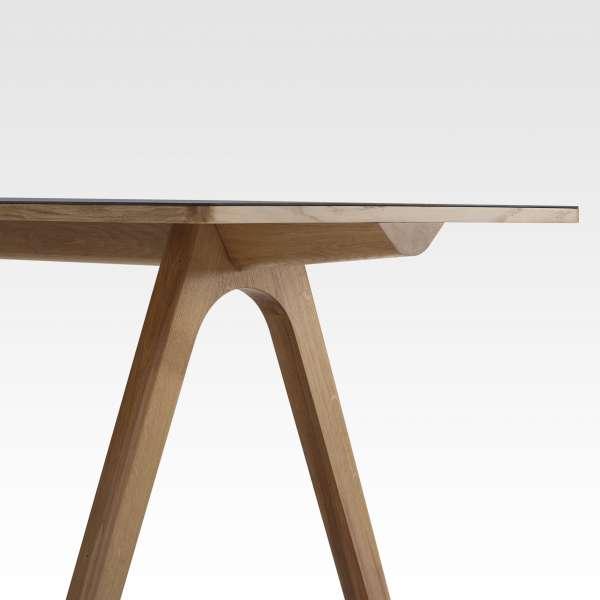 Table design en céramique anthracite et bois de made in France - Chevron - 6