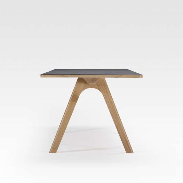 Table design en céramique anthracite et bois de fabriquée en France - Chevron - 7