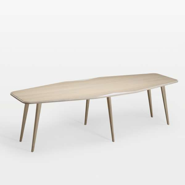 Grande table de séjour scandinave en bois blanchi liseré blanc fabriquée en France - Flo - 2